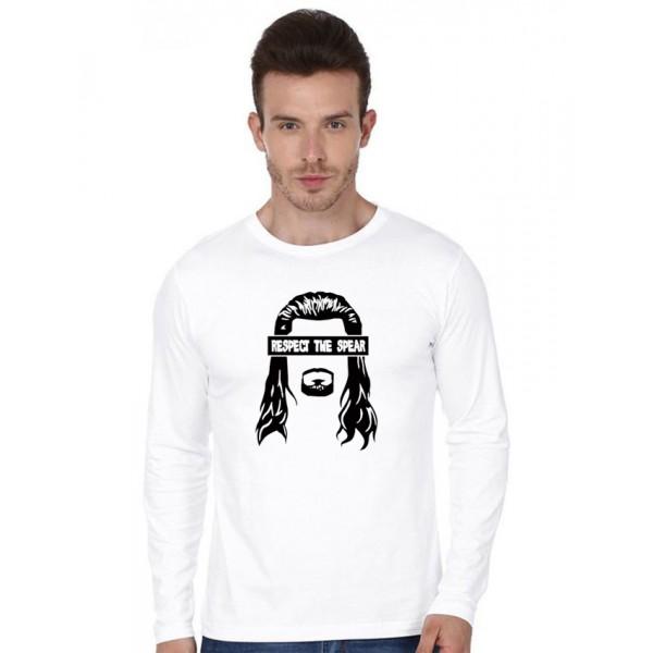 White Full Sleeves Respect The Spear Cotton T shirt