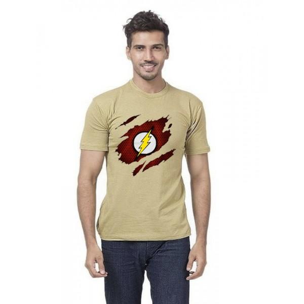 Beige Scratch Flash Printed Cotton T shirt