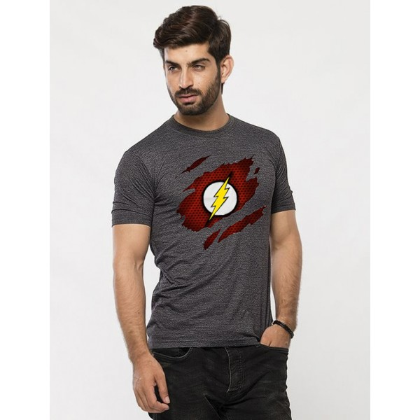 Charcoal Round Neck Half Sleeves Scratch Flash Printed T shirt For Him