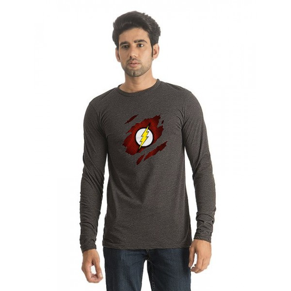Charcoal Round Neck Full Sleeves Scratch Flash Printed T shirt