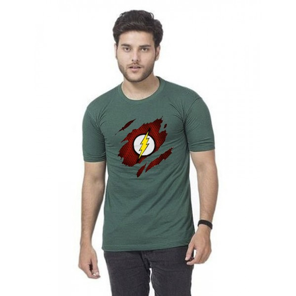 Green Round Neck Half Sleeves Scratch Flash Printed T shirt For Him