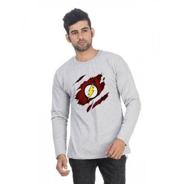 Heather Grey Round Neck Full Sleeves Scratch Flash Printed T shirt