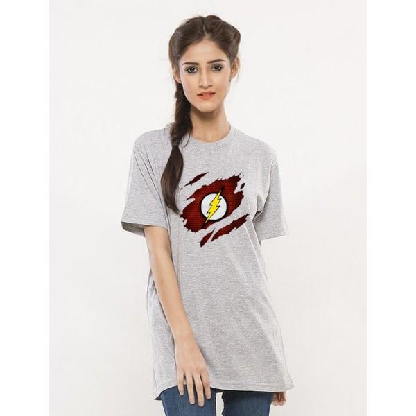 Heather Grey Half Sleeves Scratch Flash Printed T shirt