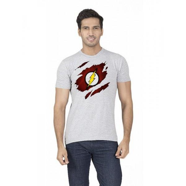 Heather Grey Round Neck Half Sleeves Scratch Flash Printed T shirt For Him
