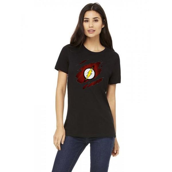 Black Round Neck Half Sleeves Scratch Flash Printed T shirt