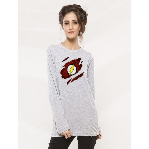 Heather Grey Round Neck Full Sleeves Scratch Flash Printed T shirt For Her