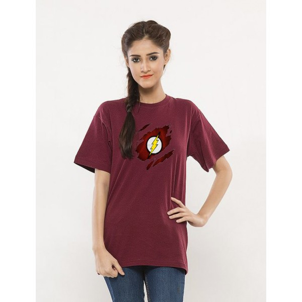 Maroon Round Neck Half Sleeves Scratch Flash Printed T shirt For Her
