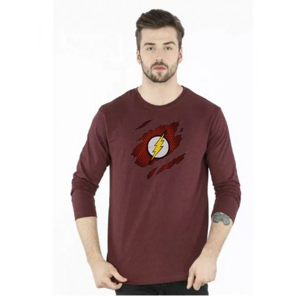 Maroon Round Neck Full Sleeves Scratch Flash Printed T shirt For Him