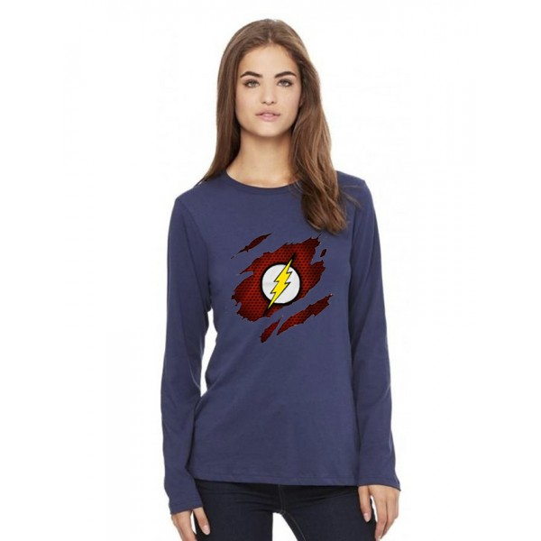 Navy Blue Round Neck Full Sleeves Scratch Flash Printed T shirt