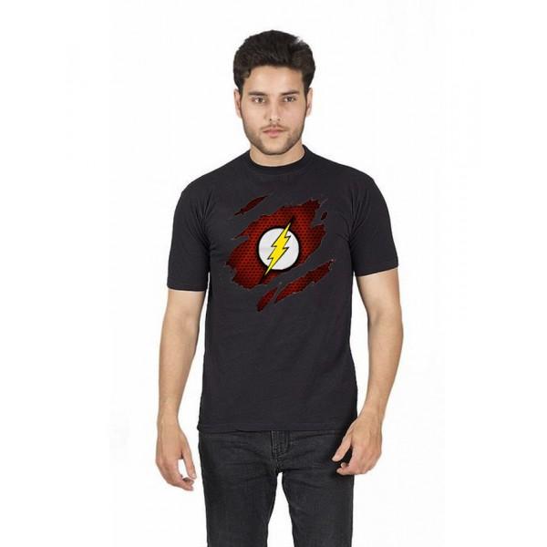Black Round Neck Half Sleeves Scratch Flash Printed T shirt For Him