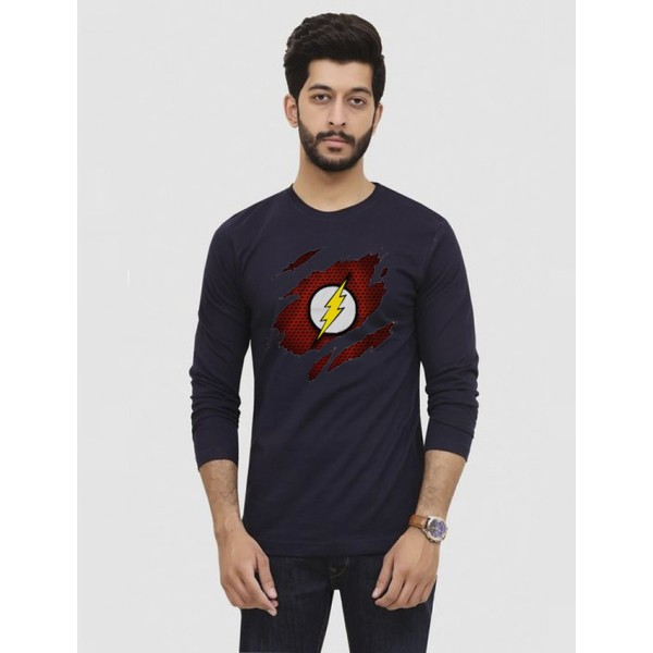 Navy Blue Round Neck Full Sleeves Scratch Flash Printed T shirt For Him