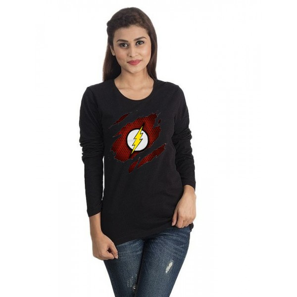 Black Round Neck Full Sleeves Scratch Flash Printed T shirt for Her
