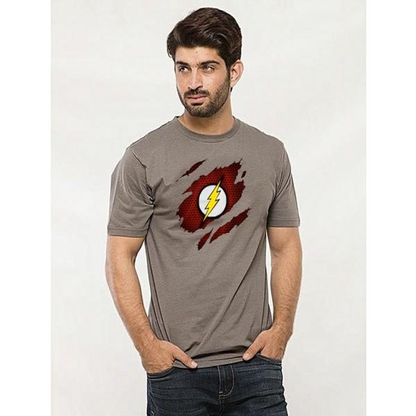 Steel Grey Round Neck Half Sleeves Scratch Flash Printed T shirt