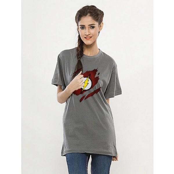 Steel Grey Rond Neck Half Sleeves Scratch Flash Printed T shirt
