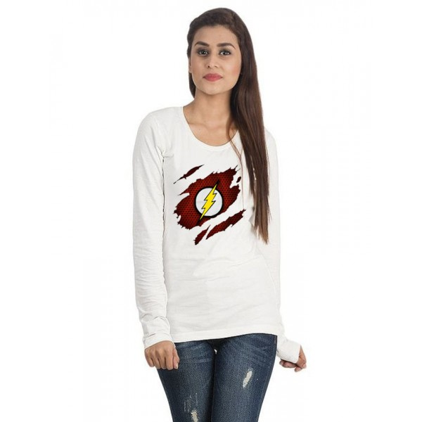 White Round Neck Full Sleeves Scratch Flash Printed T shirt