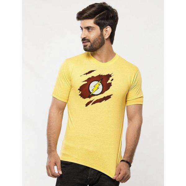 Yellow Round Neck Half Sleeves Scratch Flash Printed T shirt