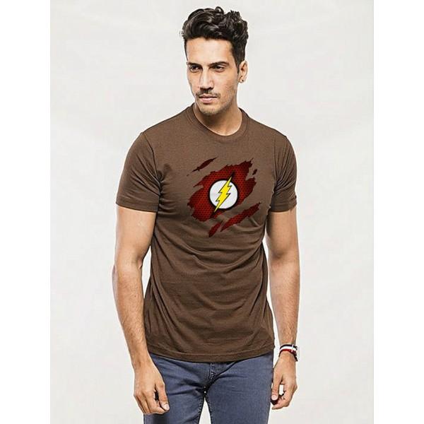 Brown Round Neck Half Sleeves Scratch Flash Printed T shirt