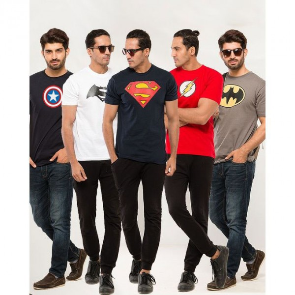 Pack of 05 Super Heroes T shirts for Boys