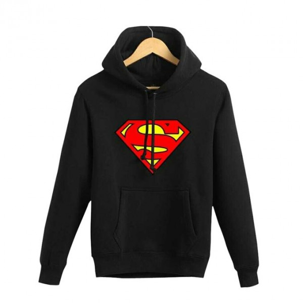 Black Superman Kangaroo Hoodie for Men