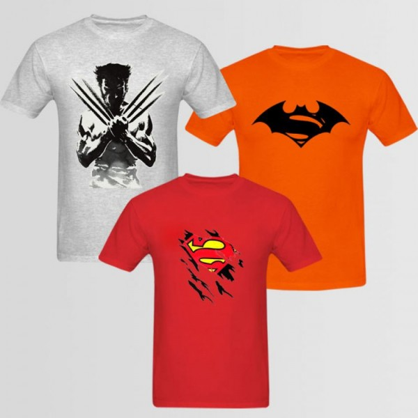 Pack of 3 Super Heroes T shirt For HIm