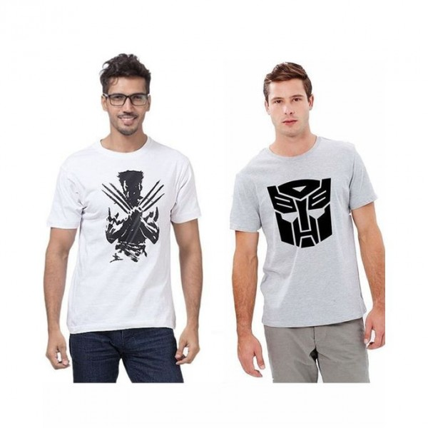 Pack of 02 Graphics T shirt For Him in grey and white colour