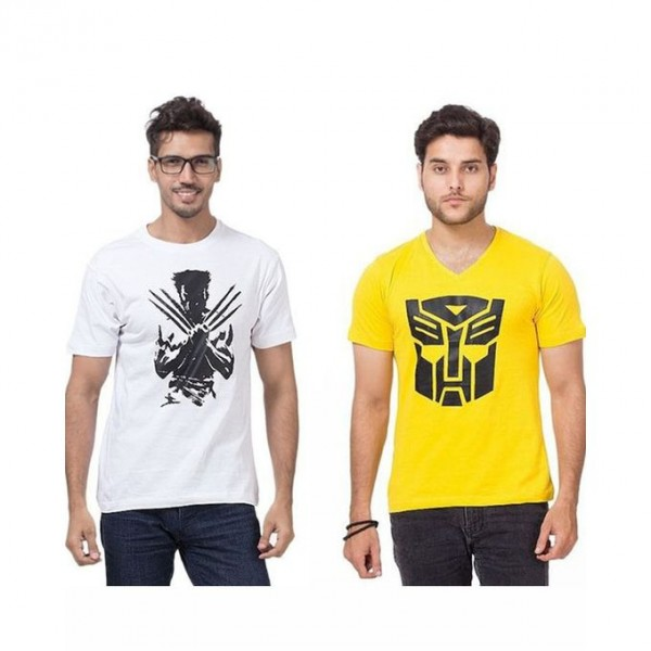 Pack of 02 yellow and white Graphics T shrit For Him