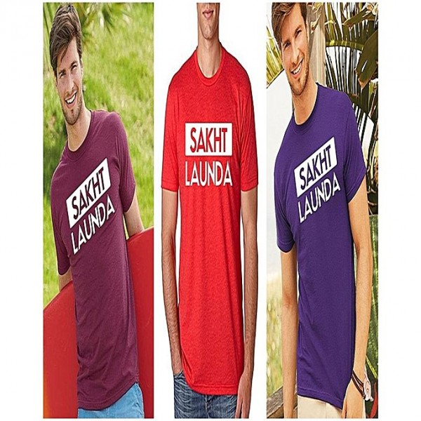 Pack of 3 Sakht Launda Printed Cotton T shirts For Him