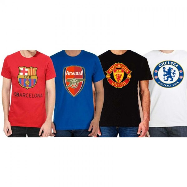 Pack of 04 Soccer Club Printed Cotton T shirts