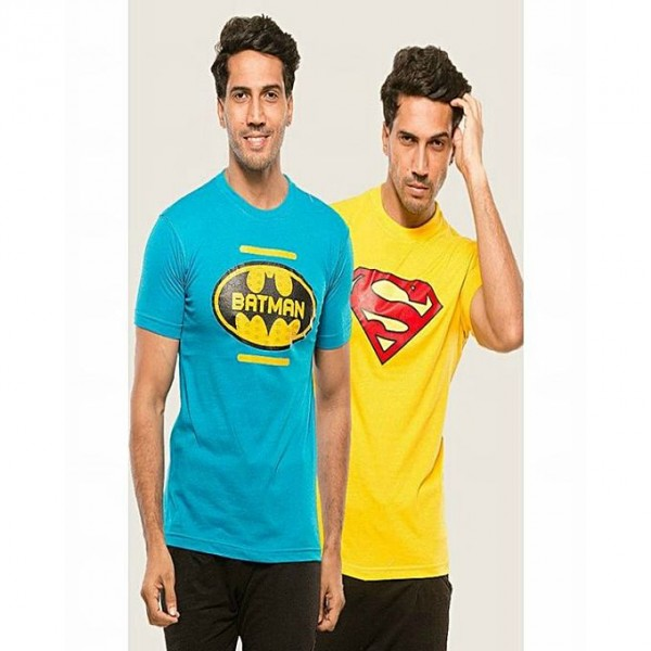 Pack of 2 Super Heroes Printed Half Sleeves T shirts for him