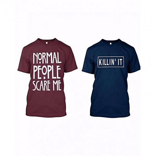 Pack of 2 Maroon and Blue Half sleeves t shirts for him