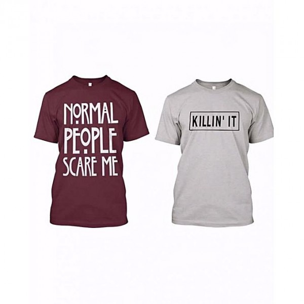 Pack of 2 Half sleeves t shirt for him in Grey and Maroon Colour