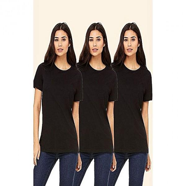 Pack of 3 plain black t shirt for her