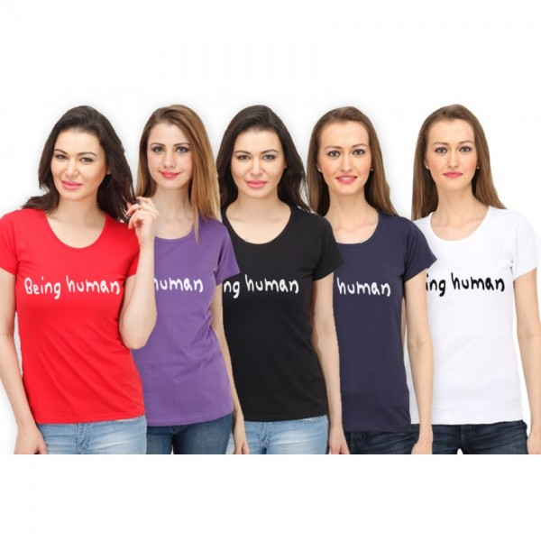 Pack of 5 being human printed t shirts for her