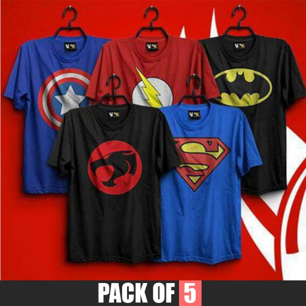 Pack of 5 superheroes printed t shirt for him