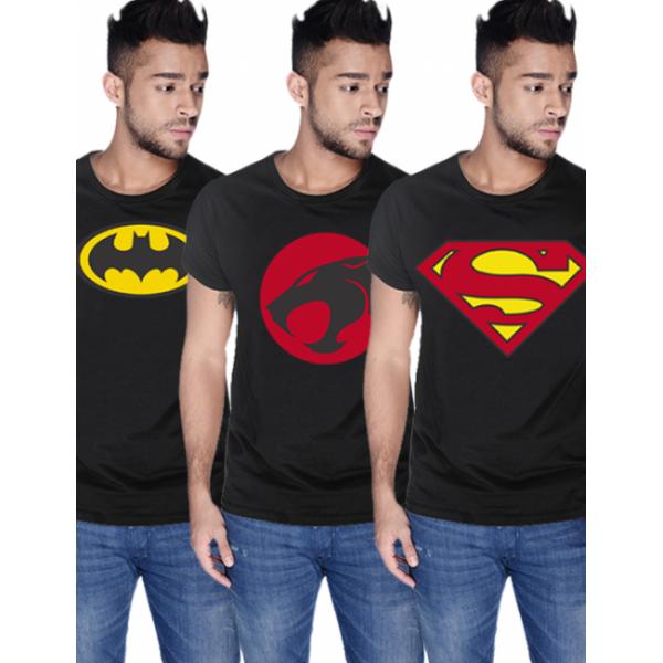 Pack of 03 Black Super Heroes Printed T shirt