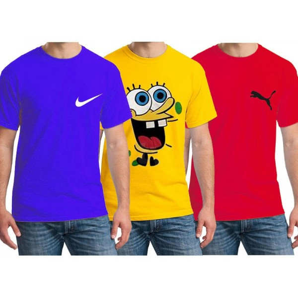 Pack of 3 Multi Color Cotton Printed T shirts