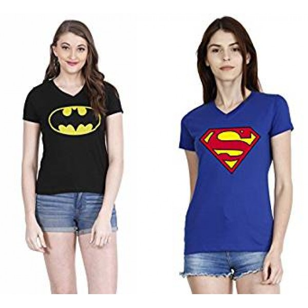 Pack of 02 Super Heroes Printed Cotton T shirts For Her