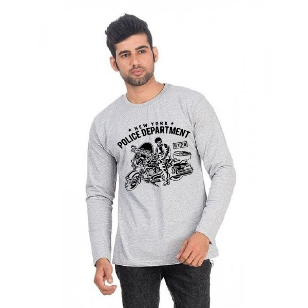 Grey NYPD Printed Cotton T shirt For Him