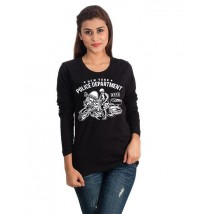 Black Full Sleeves NYPD Printed Cotton T shirt For Her