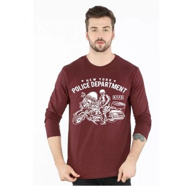 Maroon Full Sleeves NYPD Printed T shirt For Him