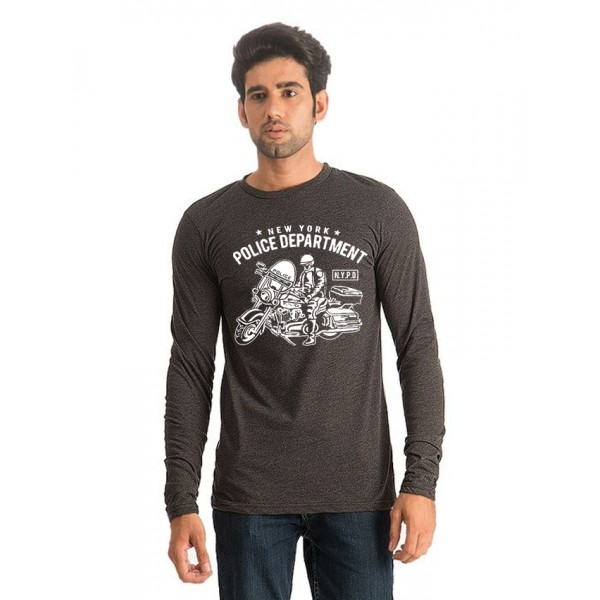 Charcoal NYPD Printed Cotton T shirt For Him