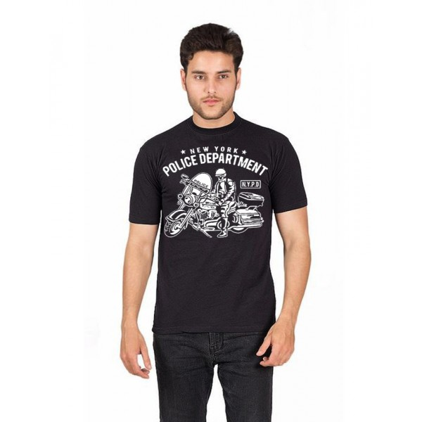 Black NYPD Printed Cotton T shirt For Him