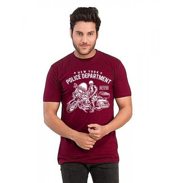 Maroon Half sleeves NYPD Printed T shirt