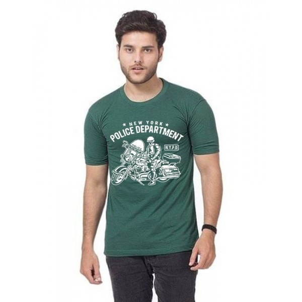 Green NYPD Printed Cotton T shirt For Him