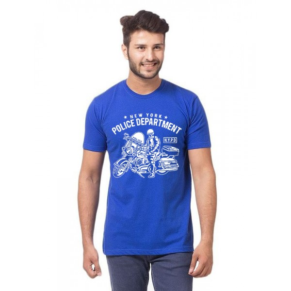 Royal Blue NYPD Printed Cotton T shirt For Him