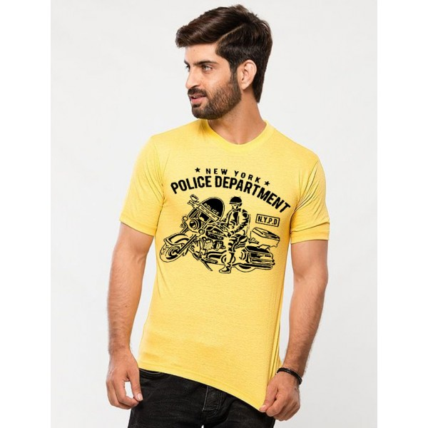 Yellow NYPD Printed Cotton T shirt For Him