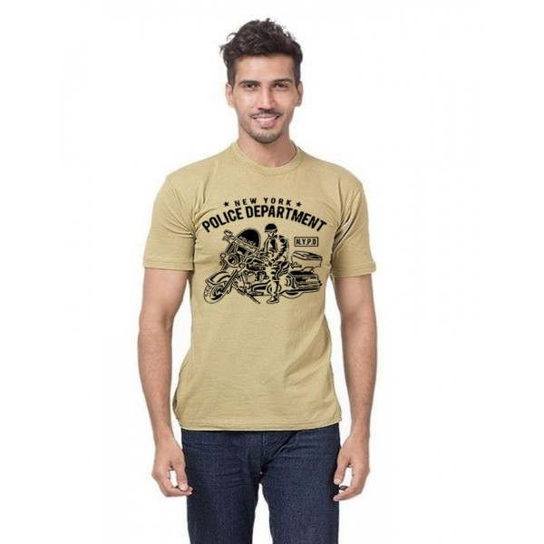 Beige NYPD Printed Cotton T shirt For Him
