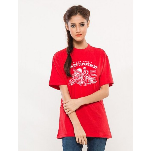 Red NYPD Printed Cotton T shirt For Her