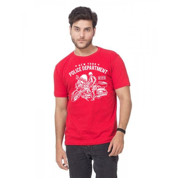 Red Half Sleeves NYPD Printed T shirt