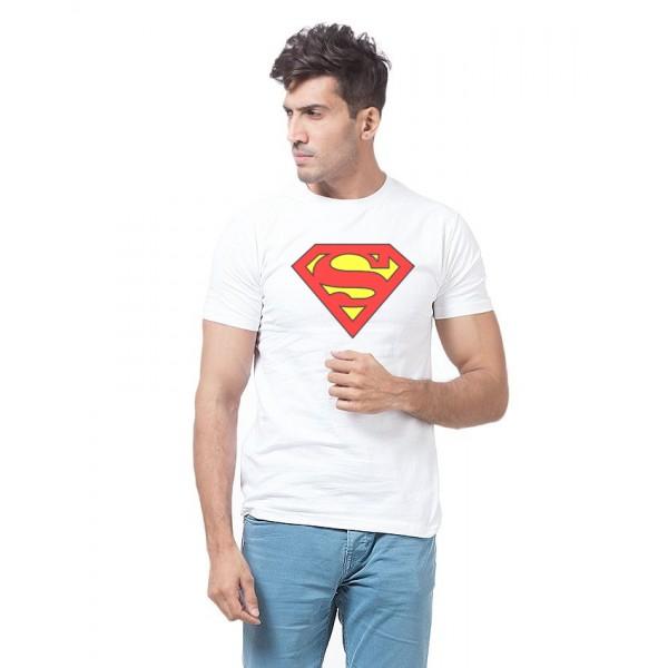 White Superman Graphics Cotton T shirt For Him